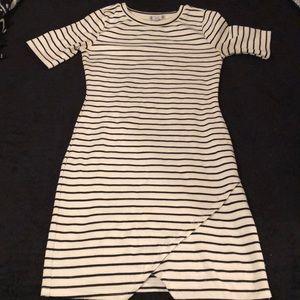 White & black striped dress.